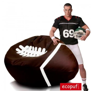 RUGBY POUF POLTRONA SACCO PALLONE FOOTBALL IN ECOPELLE