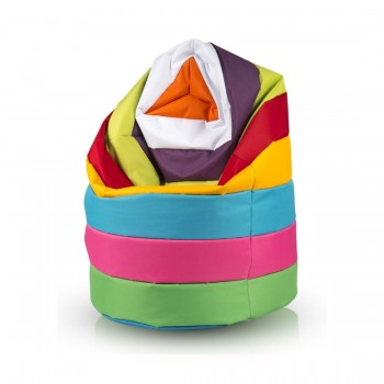 POUF SACCO XL PATCHWORK RIGHE POLIESTERE