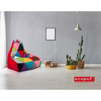 pouf poltrona sacco seduta keiko m patchwork ecopelle