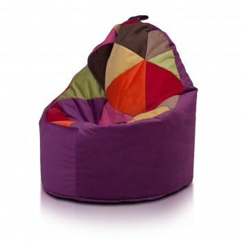yoko poltrona sacco pouf imbottito in microfibra patchwork design, doppia cerniera 70x75cm